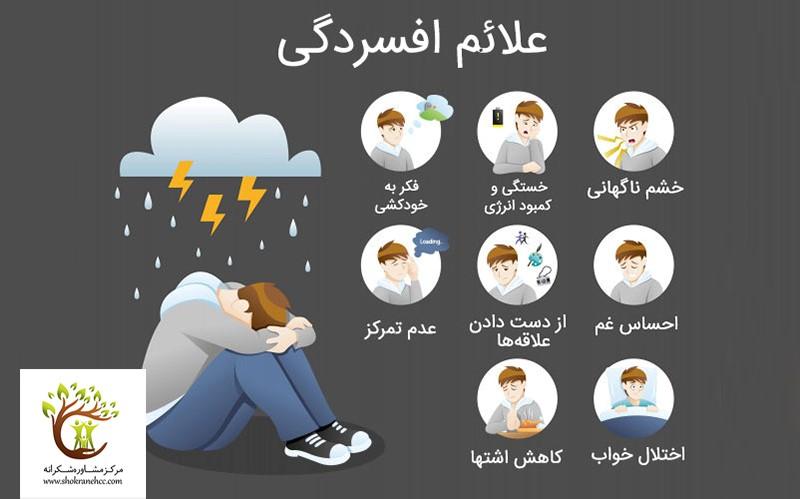 خشم، بدخوابی، بیاشتهایی و فکر به خودکشی برخی از علائم افسردگی میباشند..